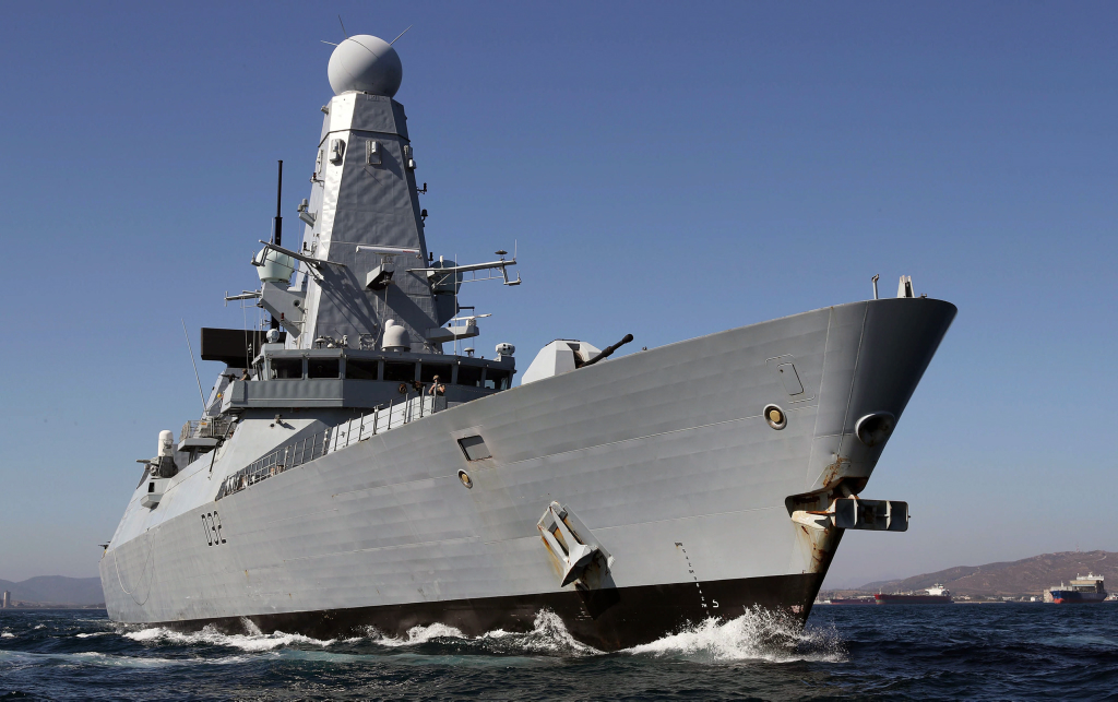 Royal Navy Type 45 Daring class destroyer with 2 x 20MW AC PWM drives for main propulsion