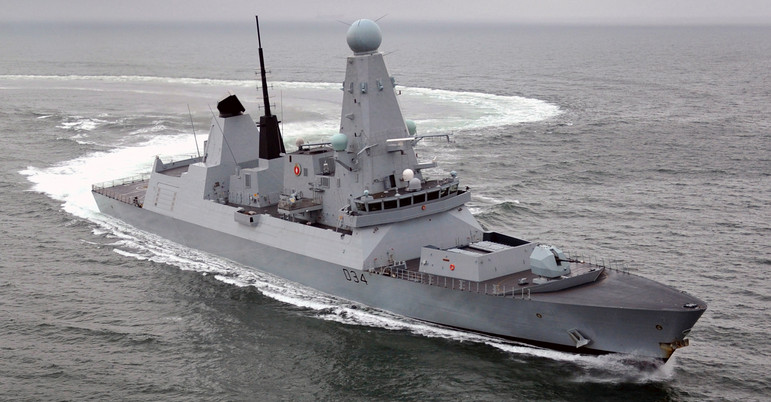 "Royal Navy Type 45 destroyer. World's first ""electric warship"""
