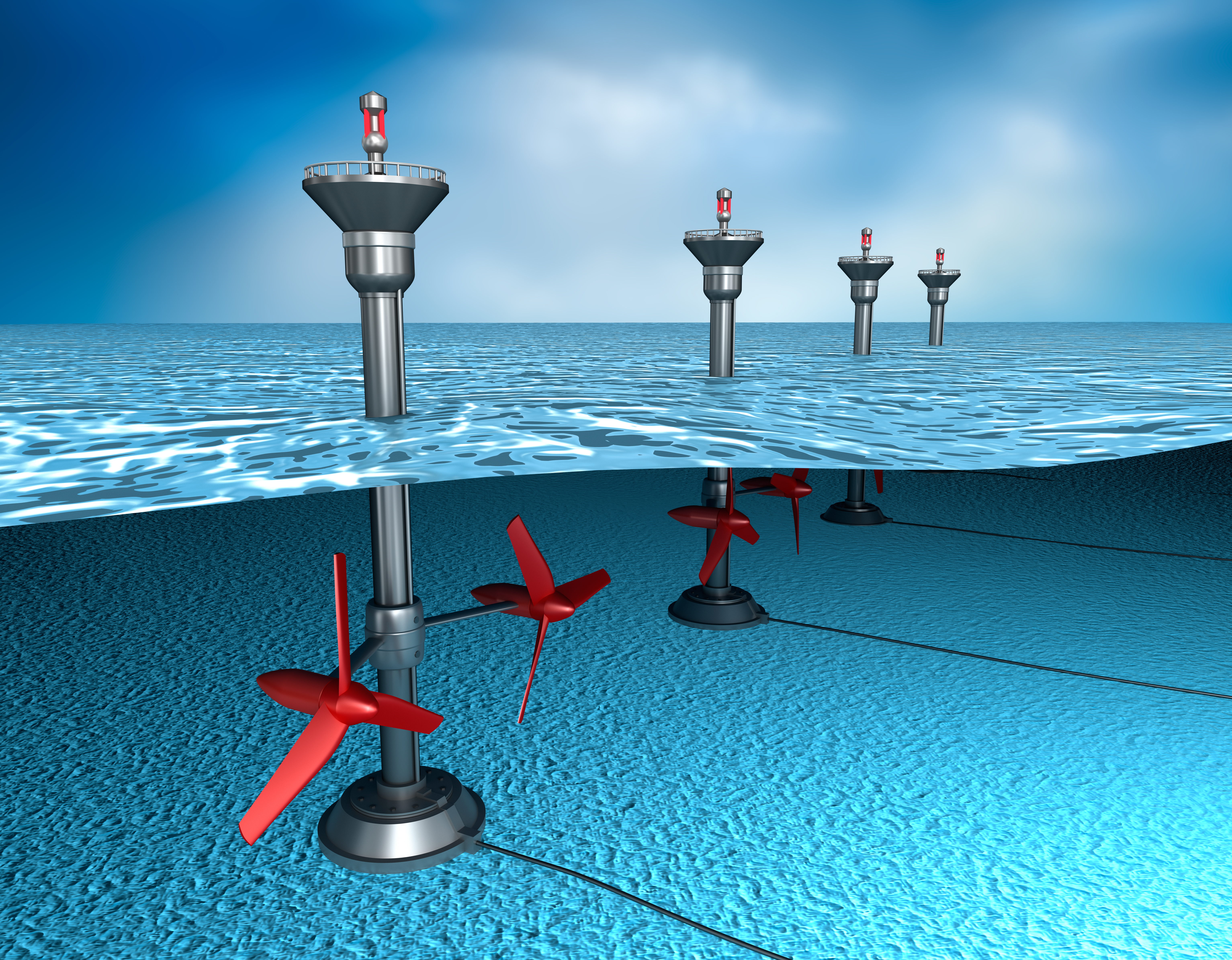 Tidal generators are driven by the flow of water during tidal flow (Adobe Stock)